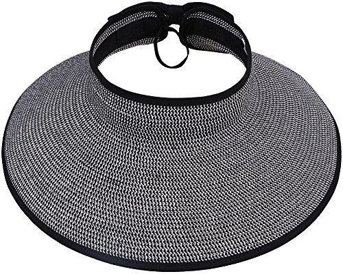 Women Summer Roll Up Packable Wide Brim Straw Sun Visor Hat Black/White