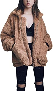 Women's Coat Casual Lapel Fleece Fuzzy Faux Shearling...