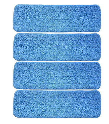 Ximoon 4 Pack- Microfiber Spray Mop Cleaning Pad Refills Replacement Heads for 15 to 18 Inch Bona, Libman, O-Cedar Floor Care System