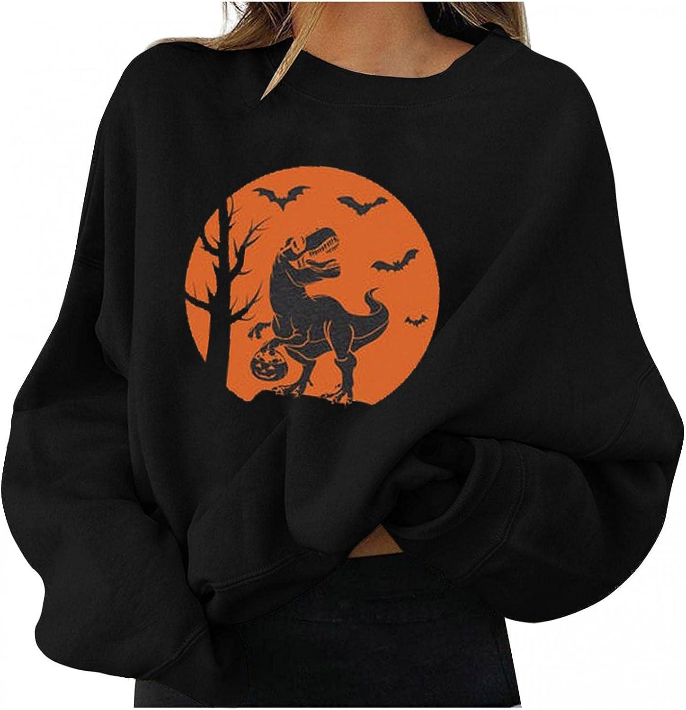 TAYBAGH Halloween Shirts for Women Funny Skull Pumpkin Black Cat Print Casual Long Sleeve Crewneck Pullover Sweatshirts