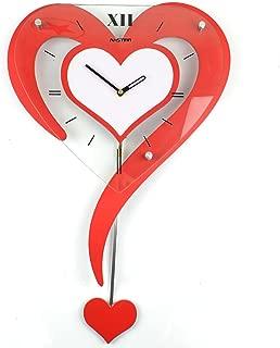 現代の装飾的な壁時計スイングミュートファッション創造的人格のリビングルームの寝室牧歌ハート型懐中時計の結婚式の腕時計 ( 色 : 赤 )