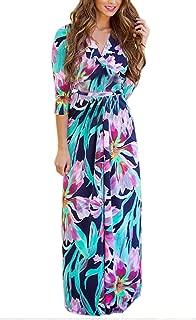 Women's Wrap V Neck Floral Print Casual Bohemian Maxi Dress