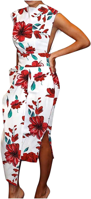 SHOPESSA Womens Floral Cocktail Dresses Patchwork Formal Wedding Guest Irregular Long Dress with Zipper Split