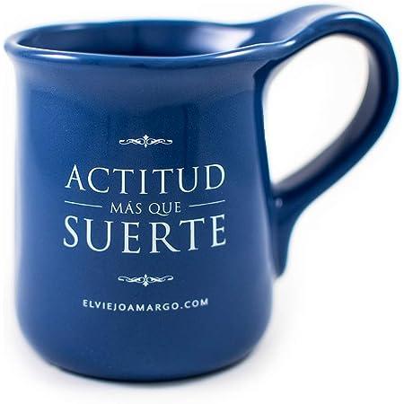 El Viejo Amargo   Taza para café   Taza para té   Taza con frase: Actitud más que suerte (Azul)