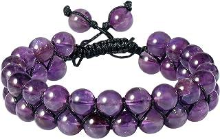 "SUNYIK 8mm Round Stone Adjustable Bracelet for Unisex, Double Layers Beads Macrame Friendship Bracelets, 7""-10"" Strand"