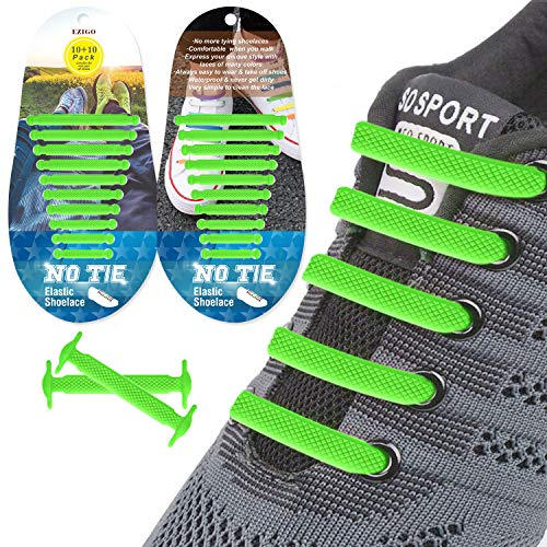 EZIGO 10+10 No Tie Shoelaces Upgraded Elastic Shoelaces for Adults/Kids Tieless Elastic Shoe Laces Waterproof Rubber Shoelaces for Sneakers Boots and Casual Shoes 20 Shoelaces Green