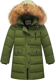 Capturelove Big Girls Winter Parka Long Puffer Jacket Coat Padded Overcoat with Fur Hood