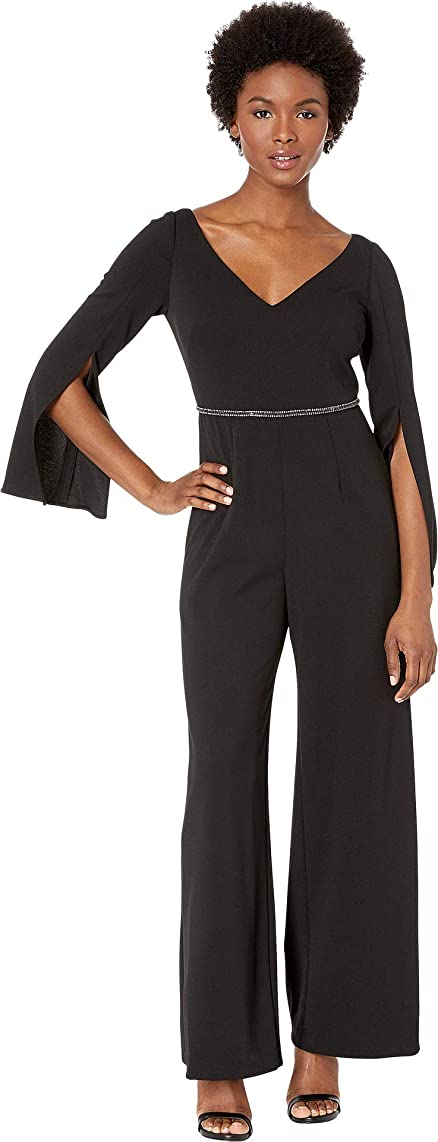 Adrianna Papell Women's Crepe Jumpsuit with Long Split Sleeves and Beaded Waist
