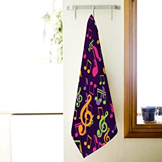 BJHAP Hand Towel Colorful Musical Notes Soft Absorbent Face Towel for Bathroom Shower Tub, 16 x 27 Inch