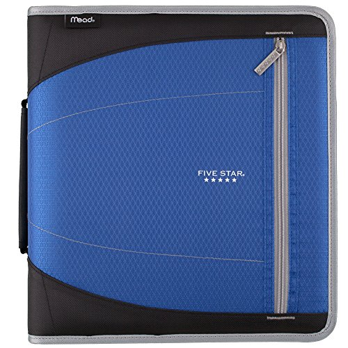 Five Star Zipper Binder, 2 Inch 3 Ring Binder, Removable File Folders, Durable, Blue (73285)
