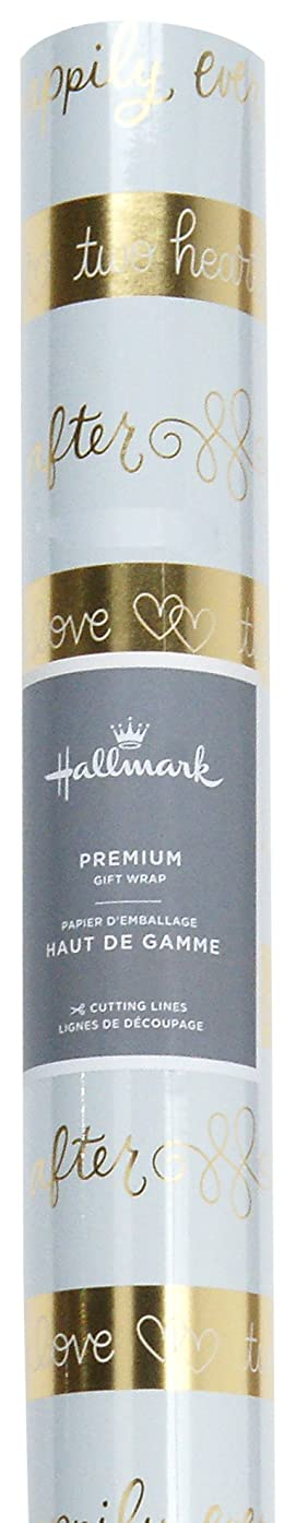 Hallmark Wedding Wrapping Paper with Cutting Lines (Foil Happily Every After, Single Roll 22.5 Total Sq. Ft.)