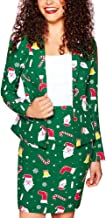 🍒 Spring Color 🍒 Womens Christmas Bodycon Dress Open Front Elk Snowflake Print Blazer Casual Long Sleeve Party Suit