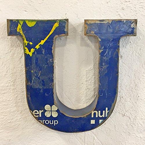 STUFF Loft Metallbuchstaben & Zeichen 3D aus Altmetall Vintage Deko-Buchstaben Höhe 31 cm (U)