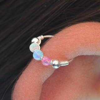 Helix Hoop Earring - 24G Silver 2 mm tiny opal helix earring - white opal cartilage earring, silver cartilage hoop