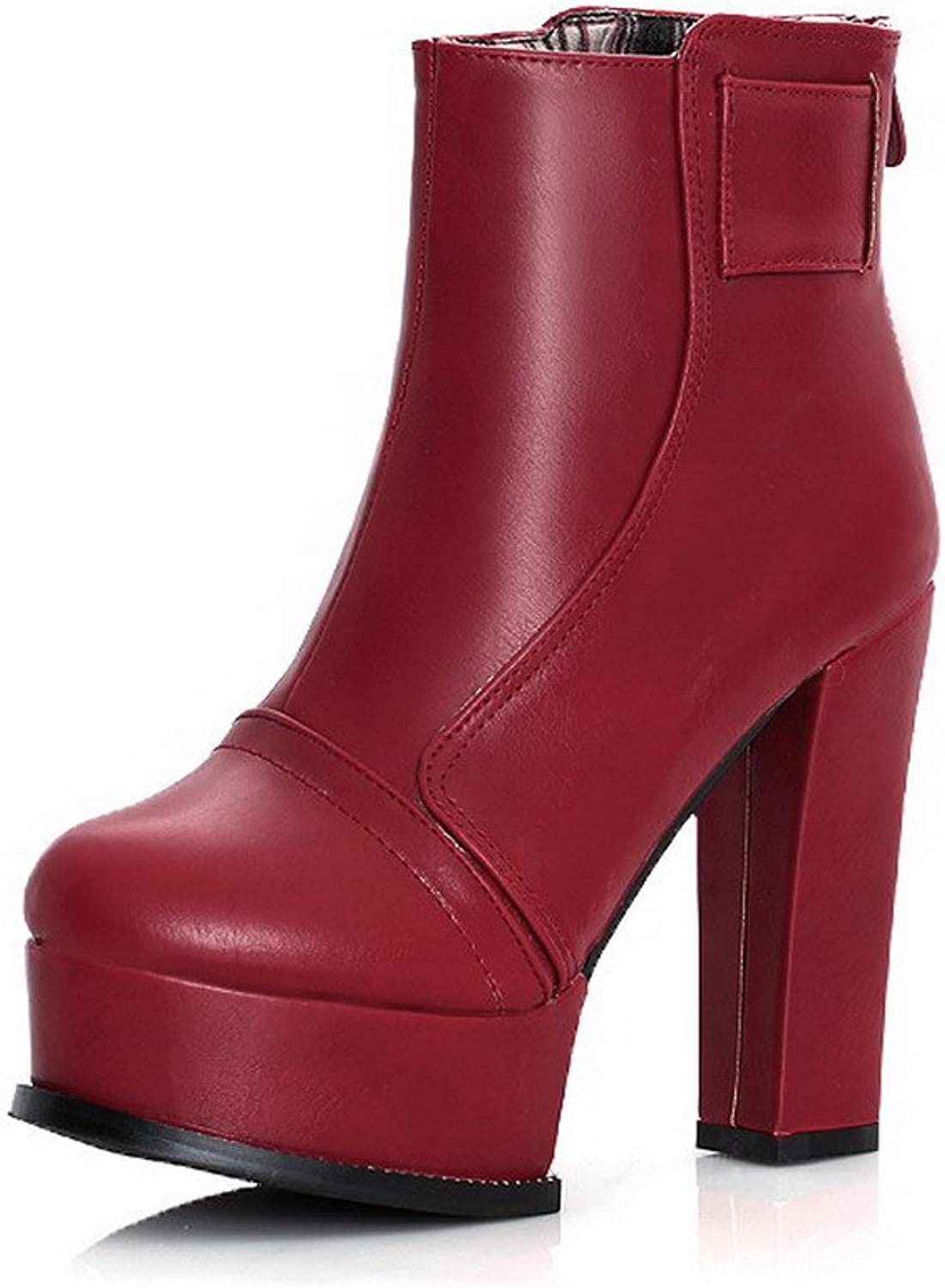 AmoonyFashion Women's Round-Toe Closed-Toe High-Heels Boots with Back Zipper and Rough Heels