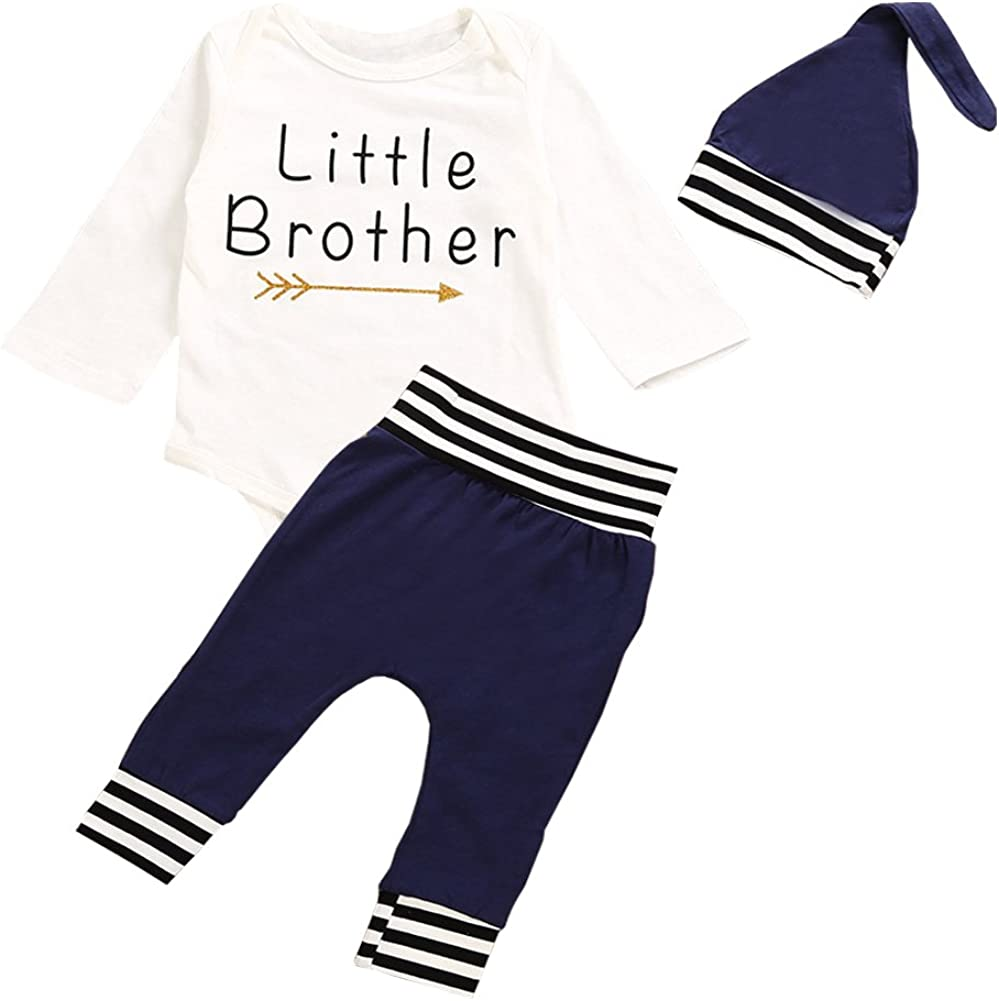 OUTGLE Newborn Baby Boy Little Brother Romper + Blue Stripe Trousers + Hat Clothing Set Autumn Outfits