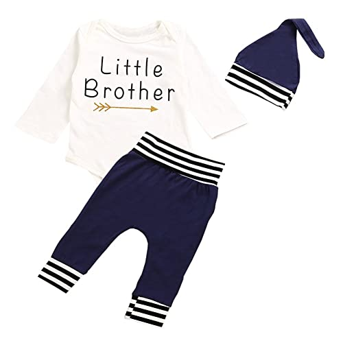 8bb170c65dd2 OUTGLE Newborn Baby Boy Little Brother Romper + Blue Stripe Trousers + Hat  Clothing Set Autumn