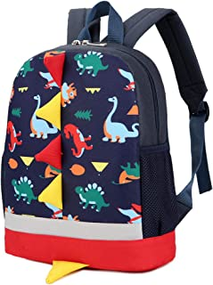 7Trees Kid's Cartoon Backpack Cute Child Dinosaur Backpack with Safety Leash School Bag (Dark Blue)