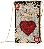Mary Frances Queen of Hearts Beaded Playing Card Crossbody Phone Bag, silver