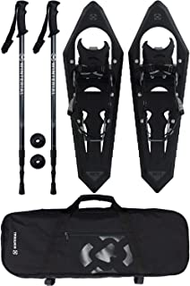 Winterial Onyx Premium Snowshoes 25 Inch Mountain Terrain Black Snow Shoes with Quick Fit Bindings Carry Bag and Adjustable Poles