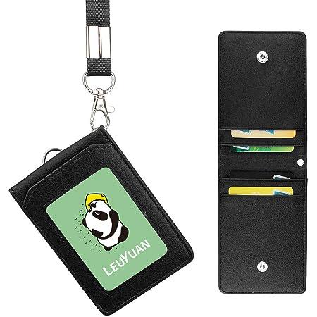 Porte-badge avec lanière [LEUYUAN] Porte Badges en Cuir Artificiel pour les bureaux ID d'école, 1 nom ID window et 4 carte slot (Noir)
