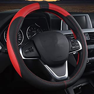 Breathable Anti-Slip Pahajim Steering Wheel Cover Leather black-blue Sporty Curves No Smell Universal 15 Inch Microfiber Leather Car Steering Wheel Cover for Car