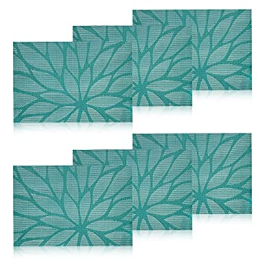 HEBE Placemats for Dining Table Washable Placemat Set of 6 Indoor Outdoor Heat Resistant Stain Resistant Crossweave Woven Vinyl Kitchen Table Mats Easy Clean(6, Blue)