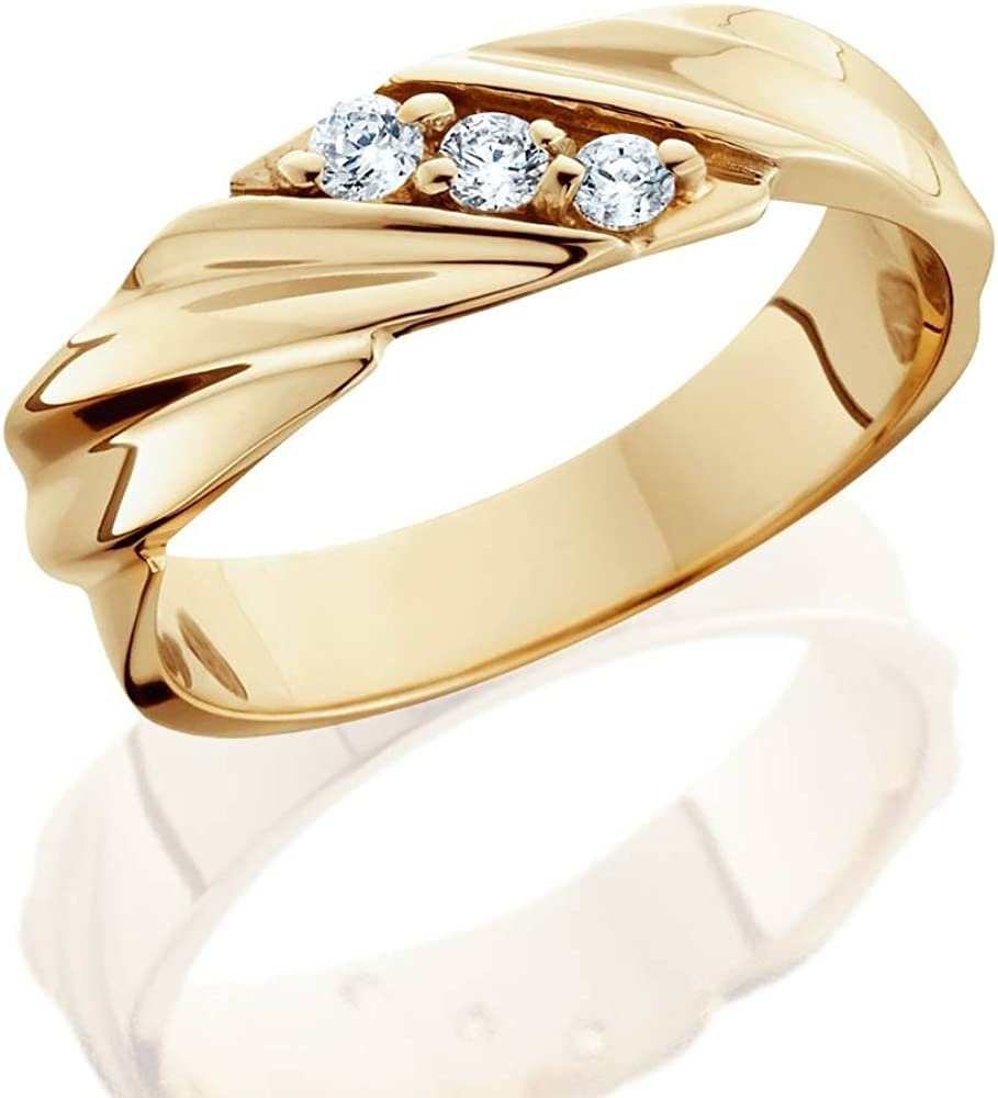 1/10ct Diamond 14K Yellow Gold Mens Wedding Ring