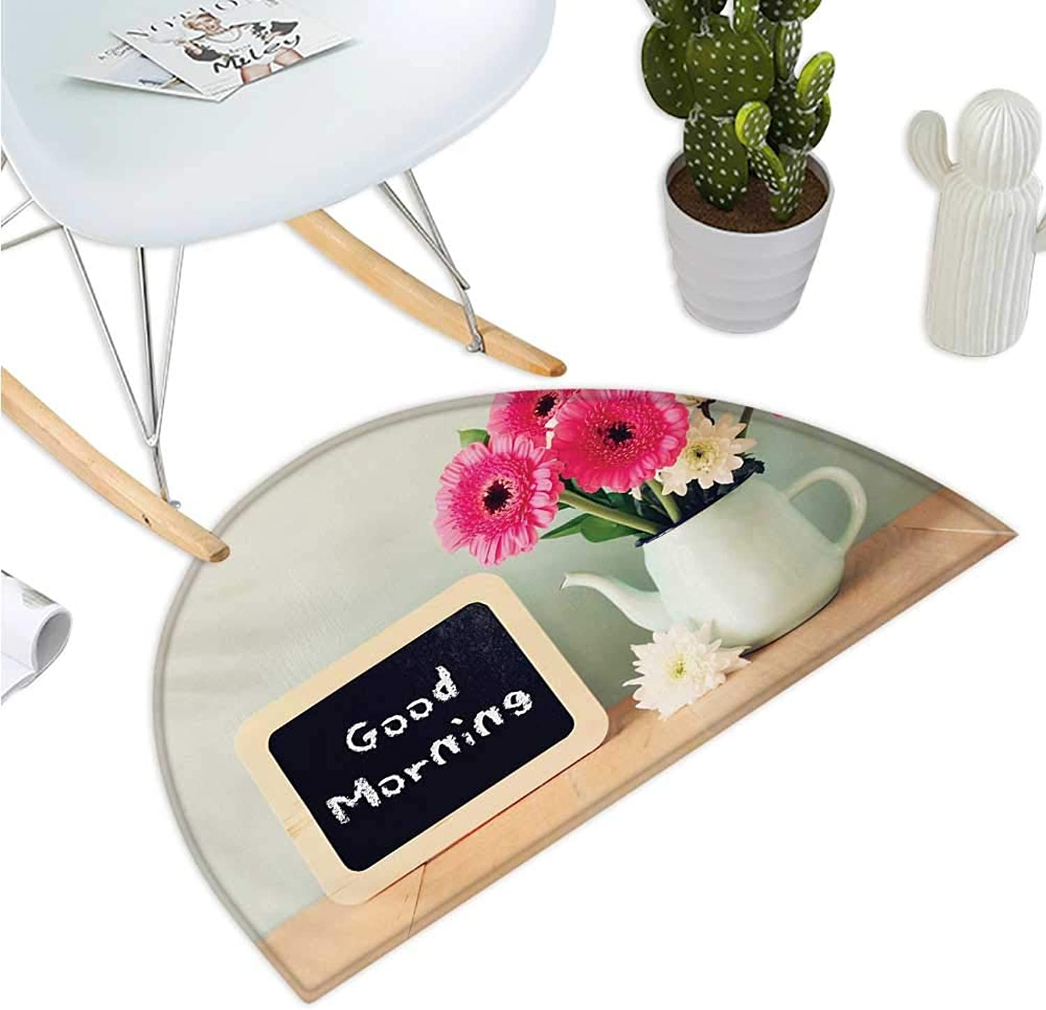 Quote Semicircular Cushion Blackboard with The Phrase Good Morning Written on It Next to Vase with Fresh Flowers Halfmoon doormats H 39.3  xD 59  Multicolor