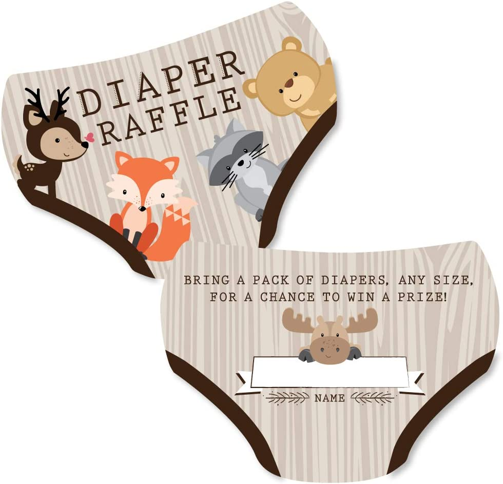 Big Dot of Happiness Woodland Creatures - Diaper Shaped Raffle Ticket Inserts - Baby Shower Activities - Diaper Raffle Game - Set of 24