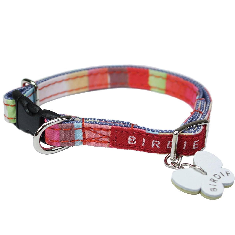 バーディ (BIRDIE) 7355 BIRDIE バーディ 超小型犬ワンタッチ布首輪 マルチボーダーカラーSSサイズ レッド