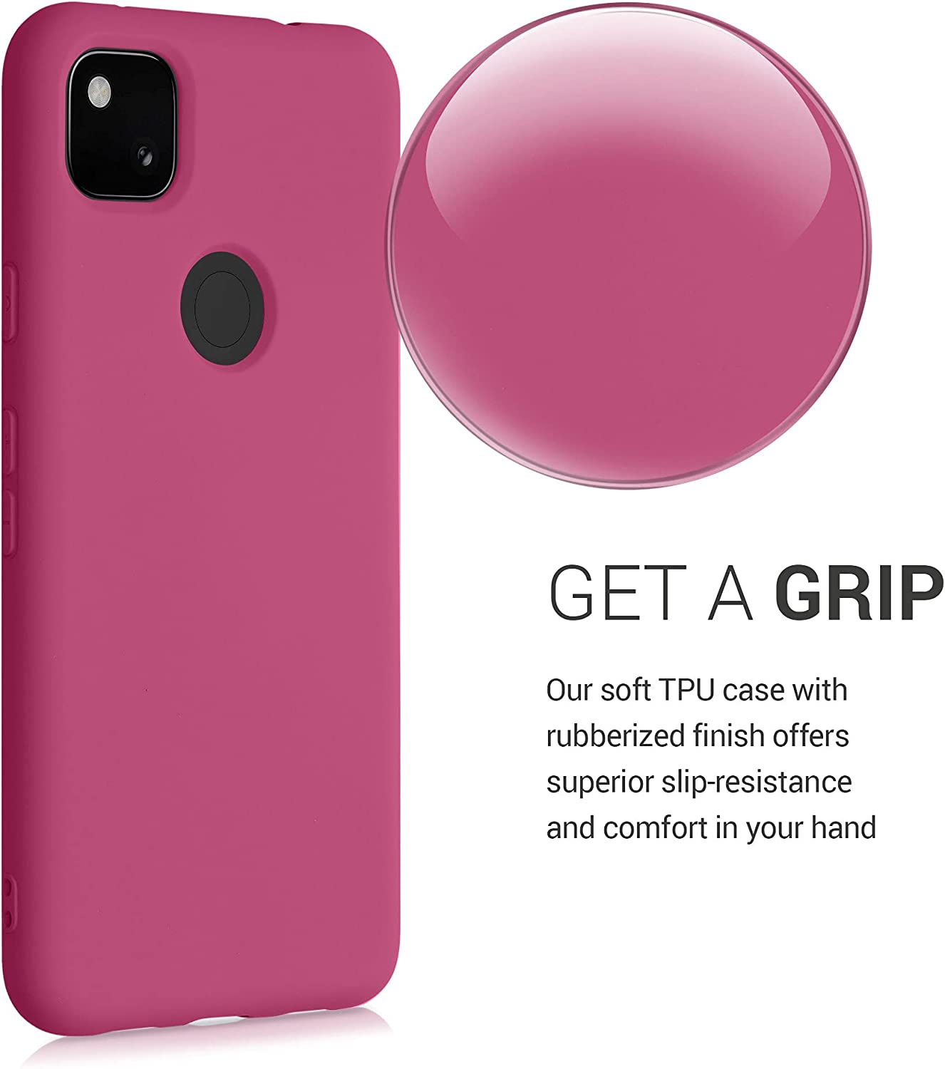 kwmobile Case Compatible with Google Pixel 4a - Case Soft TPU Slim Protective Cover for Phone - Raspberry Sorbet
