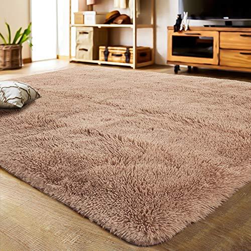 LOCHAS Ultra Soft Indoor Modern Area Rugs Fluffy Living Room Carpets for Children Bedroom Home Decor Nursery Rug 5.3x7.5 Feet, Light Tan
