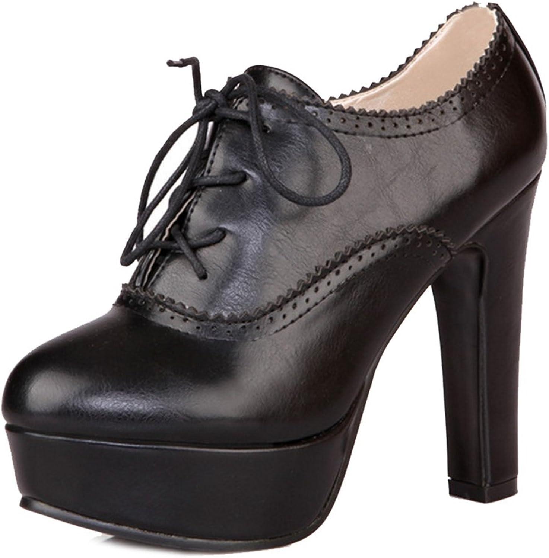 Smilice Women Lace-up High Block Heel Platform Pumps with Plus Size & Mini Size Black