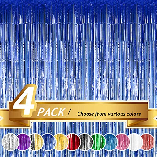 BTSD-home Blue Foil Fringe Curtain, Metallic Photo Booth Backdrop Tinsel Door Curtains for Wedding Birthday Bridal Shower Baby Shower Bachelorette Christmas Party Decorations(4 Pack, 12ft x 8ft)