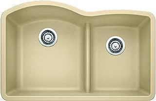BLANCO 441595 DIAMOND SILGRANIT Double Bowl Undermount Kitchen Sink with Low Divide, Biscotti