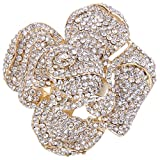 EVER FAITH Austrian Crystal Blooming Rose Flower Adjustable Statement Ring Clear Gold-Tone