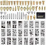 Holz-Brennspitzen, 77 Stück, Holzbrennwerkzeug, Schnitzeisen, Holz-Brenn-Zubehör, inklusive 53 x Pyrographie-Stiftspitzen, 24 Schablonen, Bonus 10 Transferpapier und 2 Holzprägungs-Eingabestift