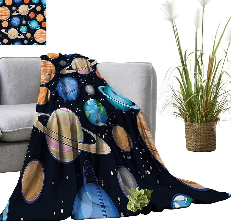 YOYI Bed Blanket Cute Galaxy Space Solar System with Planets Mars Mercury Uranus Jupiter Venus Kids Comfortable Home Decor 60 x63