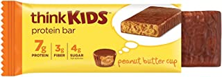 thinkKIDS Protein Bars - Peanut Butter Cup, 7g Protein, 3g Fiber, 4g Sugar, No Artificial Flavors or Colors, Gluten Free, GMO Free, 1 oz bar (5 Count)
