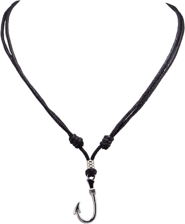 BlueRica Fish Hook Pendant on Adjustable Black Rope Cord Necklace (Chrome)