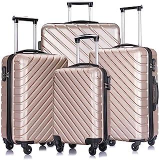 4 PCS Luggage Sets with Spinner Wheels,Carry On Suitcase,Luggage Hardshell Travel Luggage Sets (Champagne)