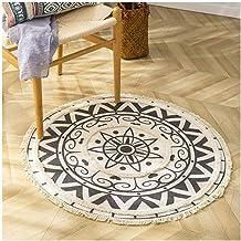 Ronde katoenen gebied RUG Geweven zacht tapijt met kwastjes machine wasbare hand geweven vloermat tapijten -150 * 150cm_4