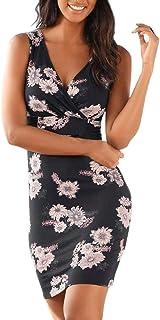 COSEZIN Womens Sexy Print Dresses, V Neck Boho Sleeveless Casual Mini Slim Summer Dress Sundress Fashion 2019