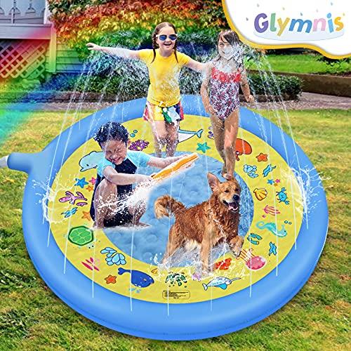 Glymnis Splash Pad Aspersor de Juego 170 cm Almohadilla de Aspersión Redonda Juguete de Verano para Niños con 2 Parches de PVC Ecológico Azul para Jardín Playa Patio Actividades Juegos Splash Mat