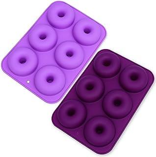 MEISO Lot de 2 moules à donuts anti-adhésifs en silicone à 6 emplacements pour gâteaux, biscuits, bagels, muffins (violet ...