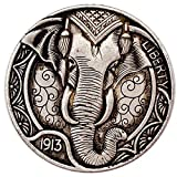 Wjtence 1913 American Animal Coin Elephant...
