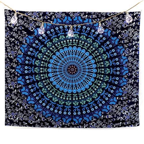 bh+ Wandteppich Mandala   Indisches Psychedelic Wandtuch   Wanddeko Schlafzimmer   130x150 cm   Orientalische Boho...