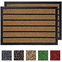2-Pack Buganda Durable Rubber Striped Door Mat (Brown)