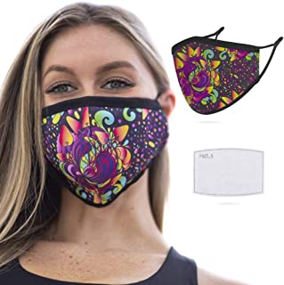 GloFX Face Mask - Wild Flower - Reusable with Filter PM 2.5 | Washable, Ear Loops, Breathable, Dust Protection